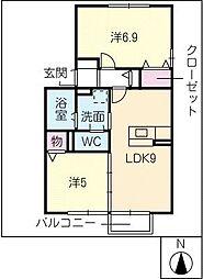 ソレアード三好[1階]の間取り