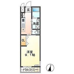 JR常磐線 牛久駅 徒歩30分の賃貸アパート 1Kの間取り