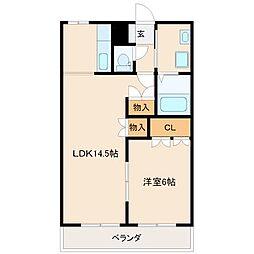 福岡県八女市稲富の賃貸アパートの間取り