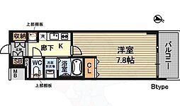 プランドール新大阪NORTHレジデンス 3階1Kの間取り