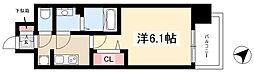 アステリ鶴舞トゥリア 4階1Kの間取り