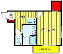 JR埼京線 北赤羽駅 徒歩4分の賃貸マンション 2階1Kの間取り
