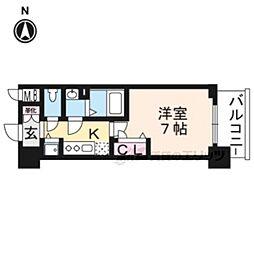 JR東海道・山陽本線 西大路駅 徒歩5分の賃貸マンション 7階1Kの間取り