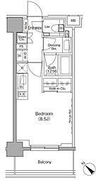 東京メトロ有楽町線 月島駅 徒歩1分の賃貸マンション 3階ワンルームの間取り