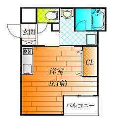 近鉄南大阪線 高鷲駅 徒歩7分の賃貸アパート 3階1Kの間取り