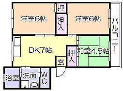 コ-ポ飯田[105号室]の間取り