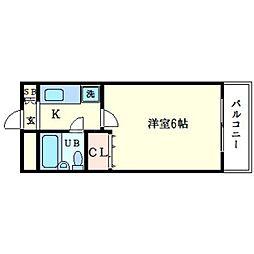 ローズコーポ新大阪8 8階1Kの間取り