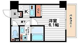 Osaka Metro谷町線 天王寺駅 徒歩10分の賃貸マンション 6階1Kの間取り