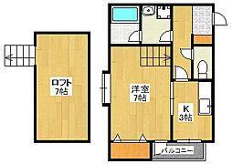 福岡県福岡市中央区鳥飼3丁目の賃貸アパートの間取り