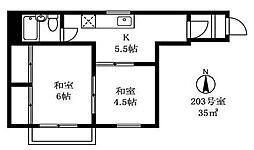 根岸三ツ木ビル[2階]の間取り