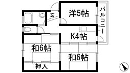 兵庫県川西市松が丘町の賃貸マンションの間取り