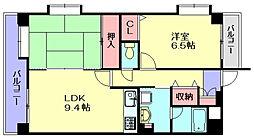 福岡県大野城市下大利1丁目の賃貸マンションの間取り