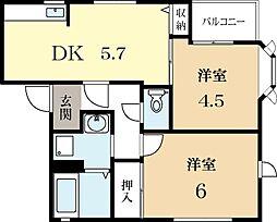 メゾンデール庭井[2階]の間取り