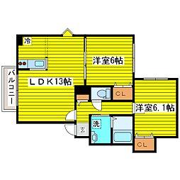 北海道札幌市東区北三十一条東19丁目の賃貸マンションの間取り