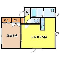 札幌市営南北線 さっぽろ駅 徒歩9分の賃貸アパート 1階1LDKの間取り