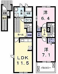 東京都昭島市拝島町4丁目の賃貸アパートの間取り