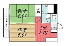 千葉県千葉市中央区登戸1丁目の賃貸アパートの間取り