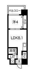 FDS AZUR 12階1LDKの間取り