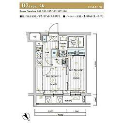 JR埼京線 北赤羽駅 徒歩13分の賃貸マンション 3階2Kの間取り