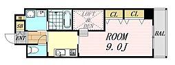 アローフィールズ弐番館 13階1DKの間取り