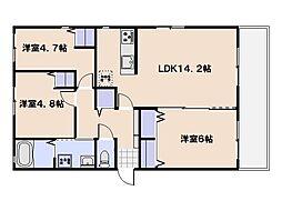 Shangri-La旭園 1階3LDKの間取り