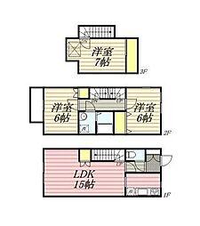 JR中央線 国立駅 徒歩17分の賃貸アパート 1階3LDKの間取り