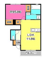 メゾンドールVIII[1階]の間取り