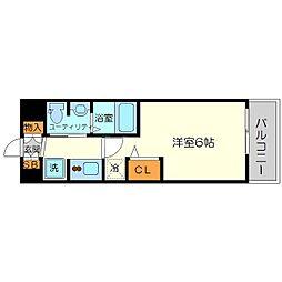 エステムコート新大阪11リンクス 10階1Kの間取り