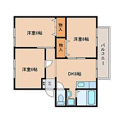 静岡県焼津市西焼津の賃貸アパートの間取り