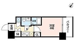 アドバンス西梅田ラシュレ 8階1Kの間取り