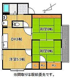 サンハイツ竹[102号室]の間取り