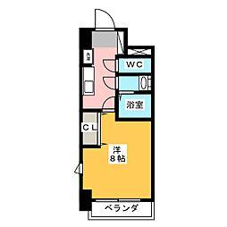 コモレビスクエア大須 2階1Kの間取り