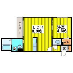 札幌市営東豊線 北13条東駅 徒歩7分の賃貸マンション 2階1LDKの間取り