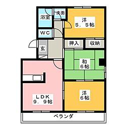 エクセレント上小田井[3階]の間取り