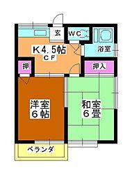 第3矢ヶ崎荘[201号室]の間取り