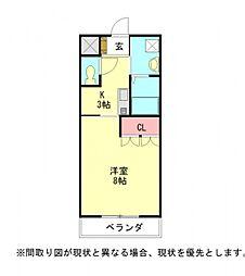 愛知県江南市尾崎町若竹の賃貸アパートの間取り
