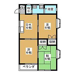 サンピュア昭府[2階]の間取り