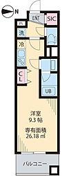 京王井の頭線 三鷹台駅 徒歩1分の賃貸マンション 3階1Kの間取り