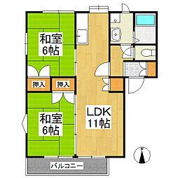 上津コーポ E棟[1階]の間取り