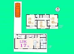 H号地の建物参考プランです。1階LDKが17.5帖と広めにとられた4LDKの間取り。