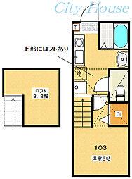 ディアコートプレミア 2階1Kの間取り