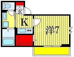 仮)D-room菅野 3階1Kの間取り