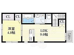 M&T 2階1LDKの間取り