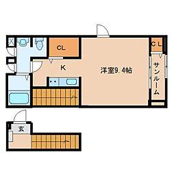 静岡県静岡市清水区有東坂の賃貸アパートの間取り