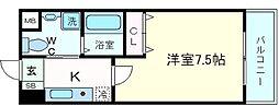 ピュアドームティアラ大手門 9階1Kの間取り