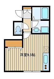 東京メトロ副都心線 池袋駅 徒歩14分の賃貸マンション 1階ワンルームの間取り