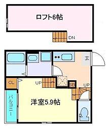 AXIS-Skys 南仙台 2階1Kの間取り