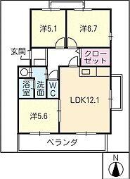 HILLS−T´s B棟[1階]の間取り