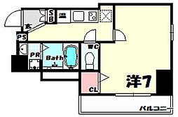 阪急神戸本線 春日野道駅 徒歩2分の賃貸マンション 2階1Kの間取り