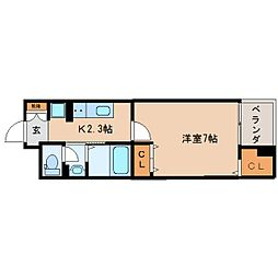 JR東海道本線 東静岡駅 徒歩10分の賃貸マンション 3階1Kの間取り